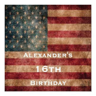 Vintage Grunge USA Stars & Stripes 16th Birthday Card