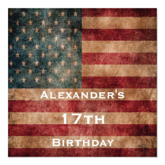 Vintage Grunge USA Stars & Stripes 17th Birthday Card