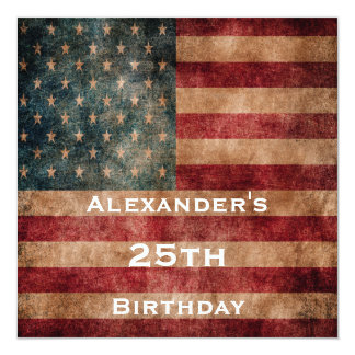Vintage Grunge USA Stars & Stripes 25th Birthday 5.25x5.25 Square Paper Invitation Card