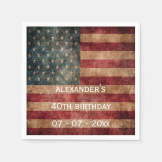 Vintage Grunge USA Stars & Stripes 40th Birthday Paper Napkin