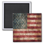 Vintage Grunge USA Stars & Stripes 55th Birthday 2 Inch Square Magnet