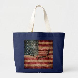 Vintage Grunge USA Stars & Stripes Flag and Map Large Tote Bag