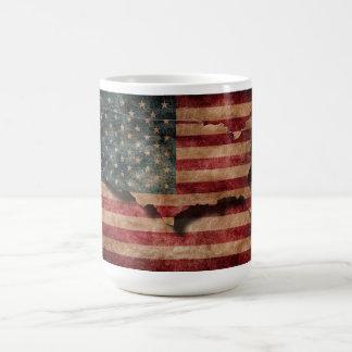 Vintage Grunge USA Stars & Stripes Flag and Map Classic White Coffee Mug