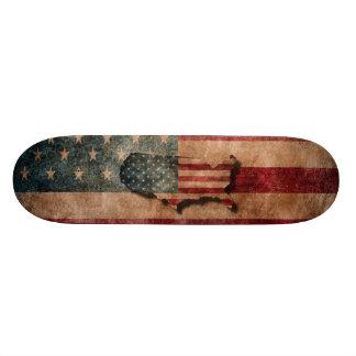 Vintage Grunge USA Stars & Stripes Flag and Map Skateboard Deck