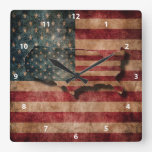 Vintage Grunge USA Stars & Stripes Flag and Map Square Wall Clocks