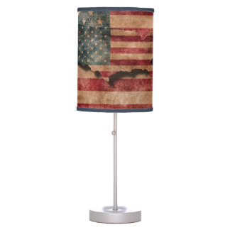 Vintage Grunge USA Stars & Stripes Flag and Map Table Lamp