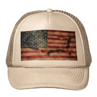 Vintage Grunge USA Stars & Stripes Flag and Map Trucker Hat