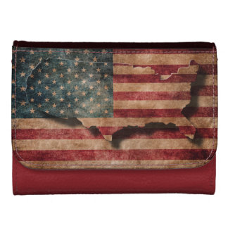 Vintage Grunge USA Stars & Stripes Flag and Map Wallets