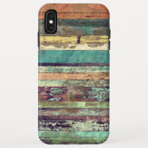 Vintage Grunge Woodgrain Mixed Color iPhone XS Max Case