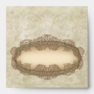 Vintage grungy damask Wedding envelopes