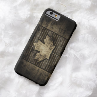 Vintage Grungy Metal Look Canadian Flag Barely There iPhone 6 Case