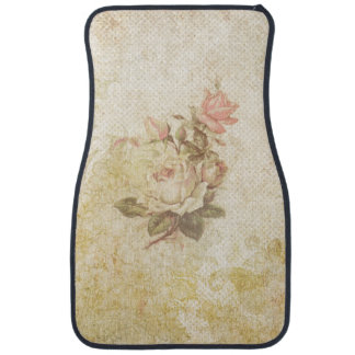 Vintage Grungy Pink and Ivory Roses Car Mat