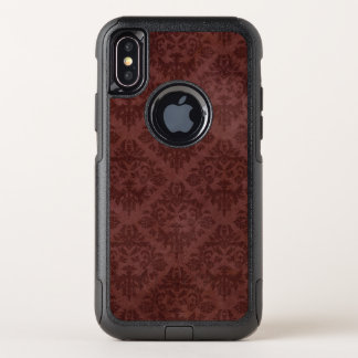 Vintage Grungy Worn Red Floral Wallpaper OtterBox Commuter iPhone X Case