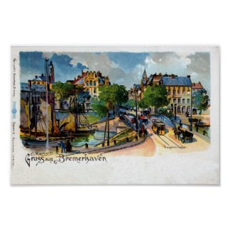 Vintage Gruss aus Bremerhaven (Geestebrücke) litho Poster