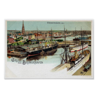 Vintage Gruss aus Bremerhaven litho Posters