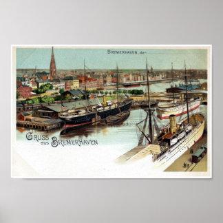 Vintage Gruss aus Bremerhaven litho Poster
