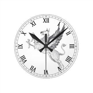 Vintage Gryphon Letterpress Line Art Round Clock