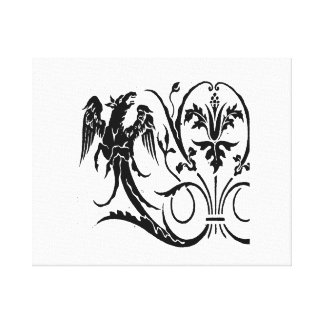 Vintage gryphoon jagged animal drawing.png canvas print