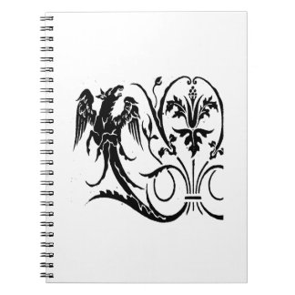 Vintage gryphoon jagged animal drawing.png spiral notebook