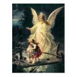 Vintage guardas ángel niño y en puente tarjeta postal
