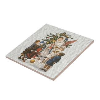 Vintage Guardian Angel with Children and Tree Small Square Tile