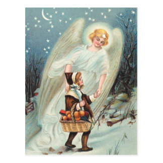 Vintage guardian angel with girls in the snow postcard