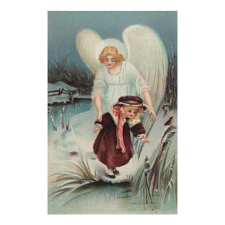 Vintage guardian angel with girls poster