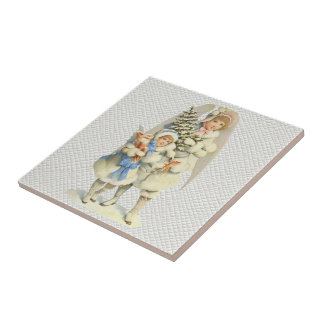 Vintage Guardian Angel with Little Girl & Tree Small Square Tile