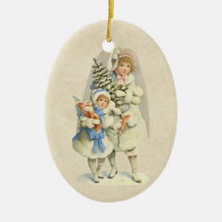 Vintage Guardian Angel with Tree Little Girl Christmas Ornaments