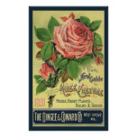 Vintage Guide to Rose Culture Book Cover Art, 1891 Poster