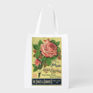 Vintage Guide to Rose Culture Book Cover Art, 1891 Reusable Grocery Bag