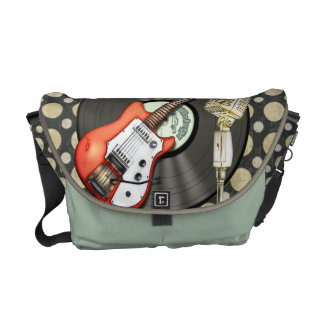 Vintage Guitar and Microphone Design Medium Courier Bag