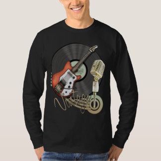 Vintage Guitar and Microphone Design Shirts