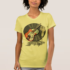 Vintage Guitar and Microphone Design T Shirt