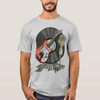 Vintage Guitar and Microphone Design T-Shirt