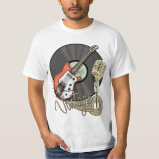 Vintage Guitar and Microphone Design Tee Shirt