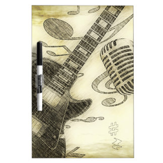Vintage Guitar and Microphone Dry Erase Whiteboards