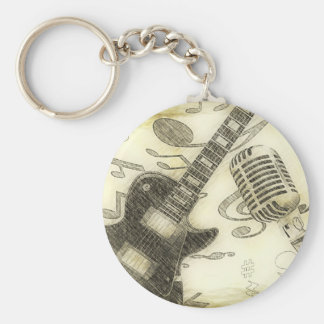 Vintage Guitar and Microphone Key Chain