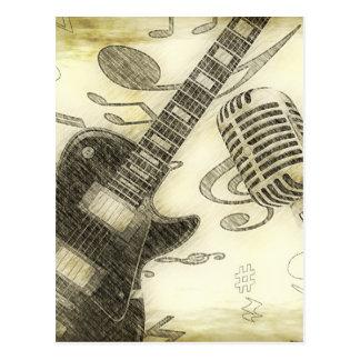 Vintage Guitar and Microphone Postcard