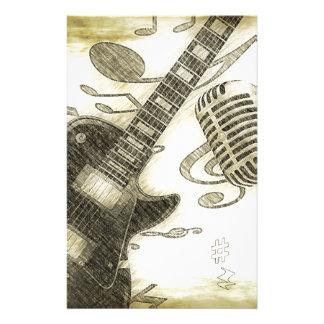 Vintage Guitar and Microphone Stationery Design