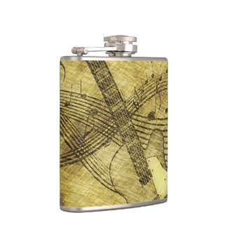 Vintage Guitar and Music Notes Flask