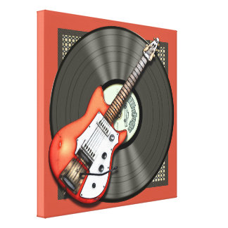 Vintage Guitar and Vinyl Record Stretched Canvas Prints