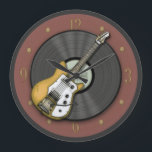 "Vintage Guitar and Vinyl Record Wall Clock<br><div class=""desc"">Add some vintage music themed art to your home. Inspired by my 1963 Futurama guitar, this retro music design is for those that love the sounds of the 50s &amp; 60s. This printed design features a vinyl LP record as a backdrop, this piece is a nostalgic reminder of the crackle...</div>"