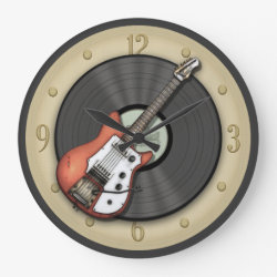 Vintage Guitar and Vinyl Record Wall Clock