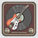 Vintage Guitar Bookplate Stickers (red)
