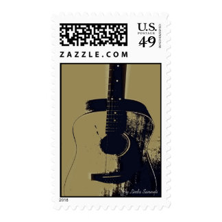 Vintage Guitar,  By Linda Sannuti Stamps