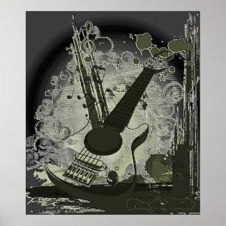 Vintage Guitar Music Poster