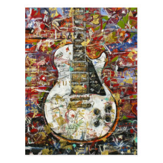 Vintage guitar - postcard