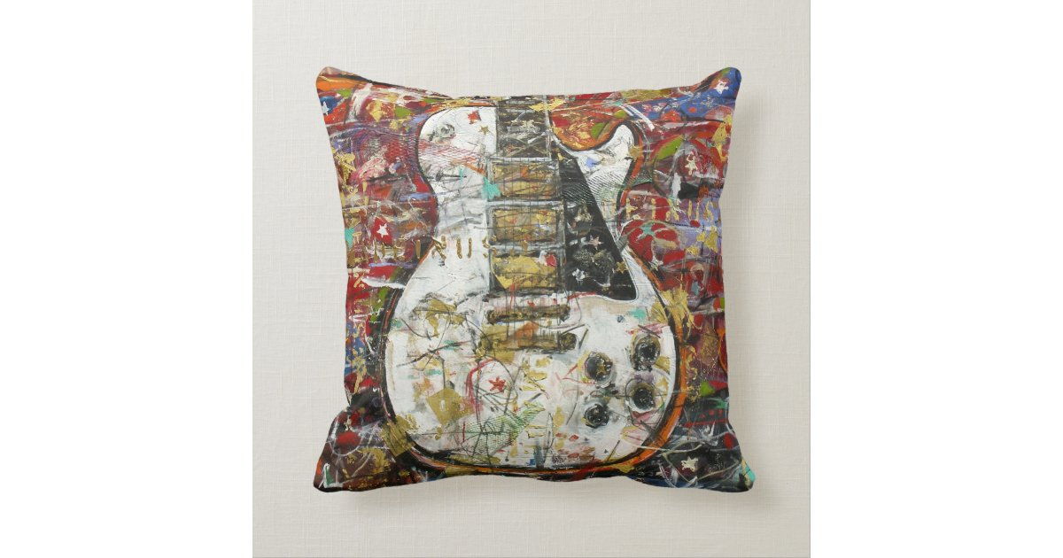 Vintage Looking Throw Pillows : Vintage guitar - throw pillow Zazzle