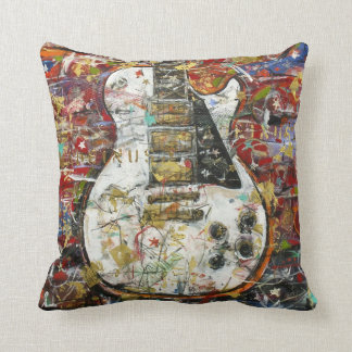 Vintage guitar - throw pillow